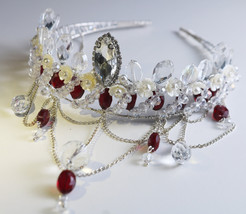 Bridal Hair Clear and Red Crystal Wire Wrapped Crown BridalCrown WiringArt - $60.00