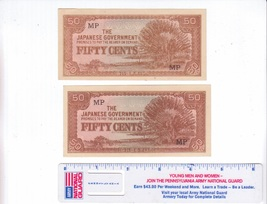 Malaysia-Japanese Government 50 Cents Banknotes WWII - $4.00