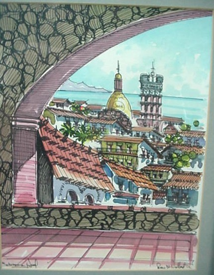 Old Church of Guadalupe Puerto Vallarta Mexico Painting