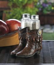 Salt & Pepper Shakers in Cowboy Boots Holder Western Decor - £17.65 GBP