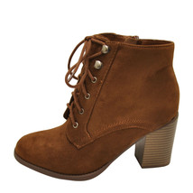 Soda Lurk Cognac Women's Faux Suede Lace Up Bootie - $34.95+