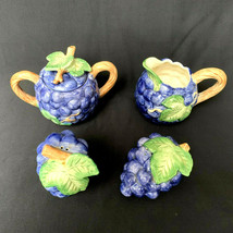 Vintage Fitz And Floyd Grapes Leaves Table Set Salt And Pepper Cream Sugar - $77.22