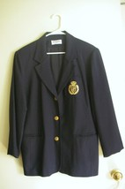 Alfred Dunner navy blue buttoned/lined jacket gold emblem size 14 made i... - $28.99