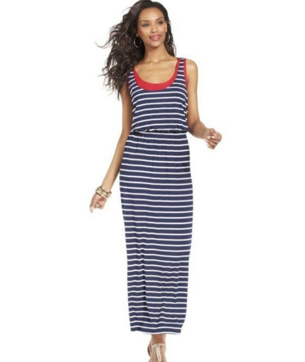 Style & Co Womens Sz L Maxi Dress Layered Look Jersey Knit Navy White Red Stripe