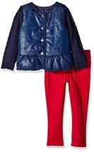 Nautica Little Girls' Toddler Sweater Sleeve Jacket and Double Knit Pant Set, Na