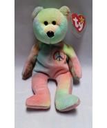 Ty Peace Bear Beanie Baby Retired Stuffed Animal Bean Bag Plush Tag 1996... - $9.97