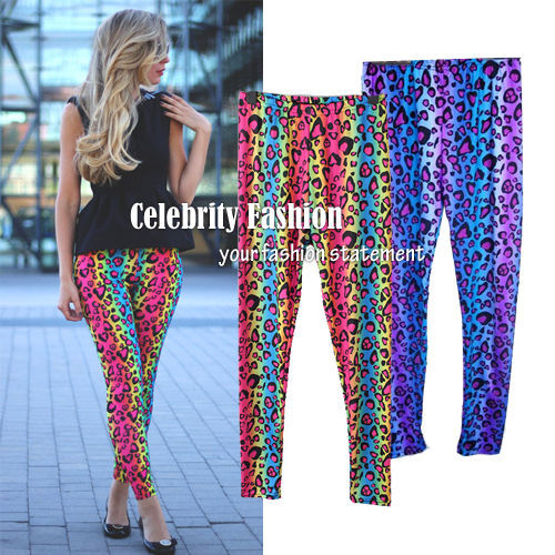 Primary image for ac15 CFLB Ladies 80s Shiny Neon Metallic Electric Leopard Print Leggings Punk
