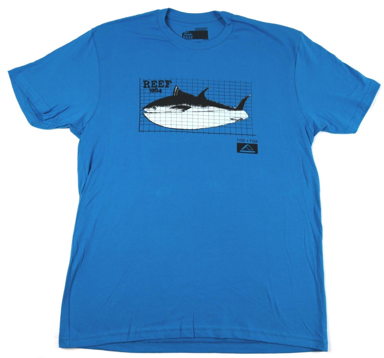 Men's REEF Tee Shirt Surfing Beach Casual Fish T-shirt Royal Blue 1984
