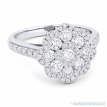1.27 ct Round Cut Diamond Pave Right-Hand Flower Fashion Ring in 18k White Gold - $2,966.03
