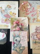 Set of 8 Vintage 40s illustrated Birth/Baby card art (Set D) image 3
