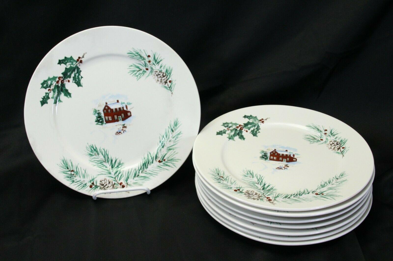 """Farberware White Christmas 2118 Dinner Plates 10.5"""" Lot of 8"""