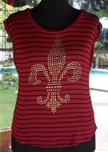 Studded Fluer De Lis Sleeveless Sheer Bongo Shirt Sz. L - $12.86