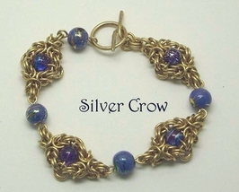 Chainmail Jeweler's Brass Varigated Purple Color Glass Bracelet  Chainma... - $40.99