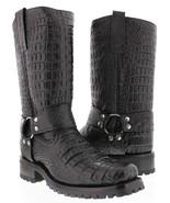 Mens Black Biker Crocodile Belly Western Cowboy Boots Motorcycle Harness... - £139.28 GBP