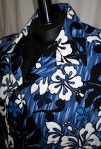 Vtg Hawaiian Reserve Collection Aloha Cotton Camp Shirt Blue Black Size ... - $24.70
