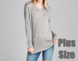 Plus Size Hacci Sweater, Soft Plus Size Sweater, Relaxed Plus Size Sweater, Gray