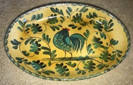 "Williams-Sonoma Green Rooster Platter Oval Plate 11"" Gold Terra Cotta Italy - $39.99"