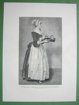 "SERVANT MAID Chocolate Girl Serving Drink -  Victorian Era Print 15"" x 21"" - $20.21"