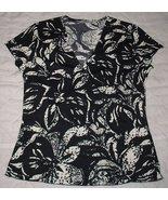 MARKS & SPENCER  black/white STRETCH Short Sleeve V-Neck  TOP SZ .8 - $4.99