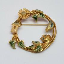 Vintage Gold Tone Enamel Brooch VTG Pin VTG - $9.97