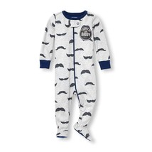 NWT The Childrens Place Mustache Boys Footed Stretchie Sleeper Pajamas - $5.84