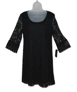 Style & Co Petite Black Lace Dress with Long Sleeves, Lined, PL NWT - $18.47