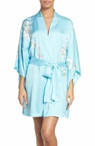 NWT New Designer Natori Orchid Flower Embroidered Womens Wrap Robe S Lig... - $287.36
