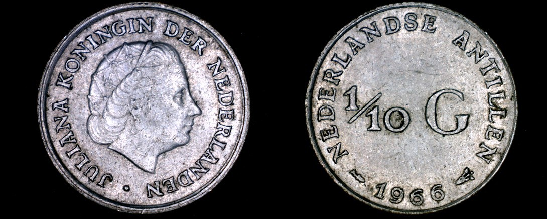 Primary image for 1966 Netherlands Antilles One Tenth 1/10 Gulden World Silver Coin