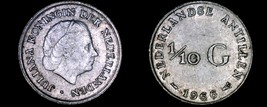 1966 Netherlands Antilles One Tenth 1/10 Gulden World Silver Coin - $5.75