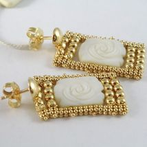 Silver Earrings 925 Yellow Gold Plated Hanging, Multi Wires, Nacre Flower image 3