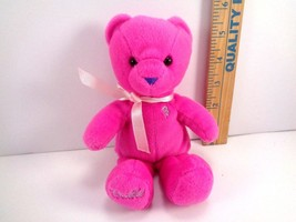 "Barbie Pajama Fun Plush Pink Bear Purple Nose Neck Ribbon Bow 7"" - $10.88"