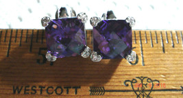 VTG 925 STERLING SILVER DIAMONIQUE CZ AMETHYST STUD STEAMPUNK PRINCESS E... - $87.99