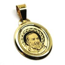 Colgante Medalla de Oro Amarillo 750 18K, St. Padre Pio de Pietrelcina, ... - $151.60