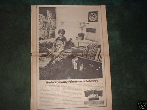 * 1970 KLH MODEL 24 PHONOGRAPH POSTER TYPE PROMO AD