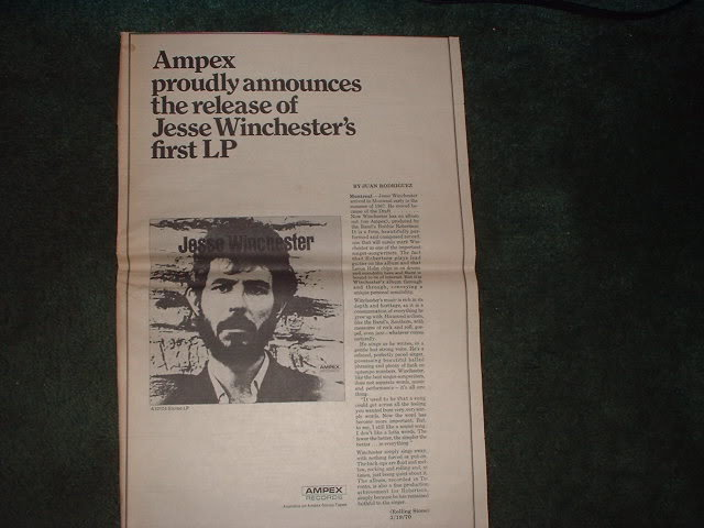 * 1970 JESSE WINCHESTER POSTER TYPE PROMO AD