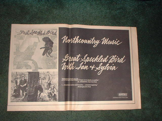 * 1970 GREAT SPECKLED BIRD POSTER TYPE PROMO AD