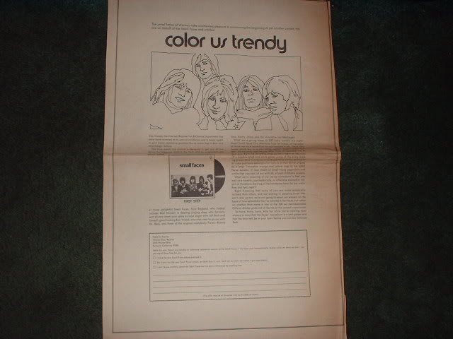 * 1970 SMALL FACES COLOR US TRENDY POSTER TYPE AD