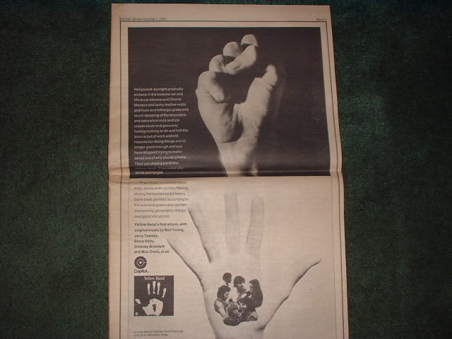 * 1970 YELLOW HAND POSTER TYPE PROMO AD