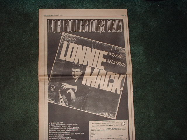 * 1970 LONNIE MACK POSTER TYPE PROMO AD