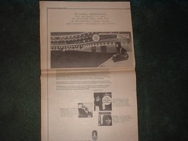 * 1970 MELANIE POSTER TYPE PROMO AD