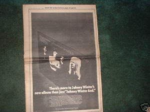 * 1970 JOHNNY WINTER MCCOYS POSTER TYPE PROMO AD