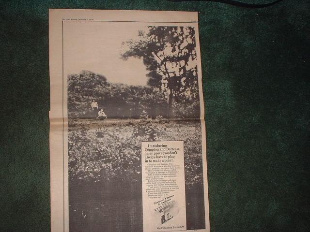 * 1970 JOHN COMPTON ROBIN BATTEAU POSTER TYPE AD