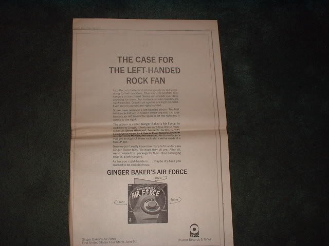 * 1970 GINGER BAKER AIR FORCE POSTER TYPE AD
