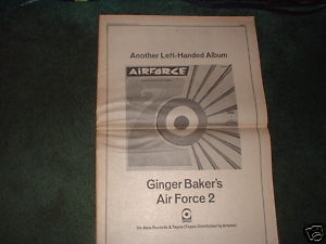 * 1971 GINGER BAKER AIR FORCE 2 POSTER TYPE PROMO AD