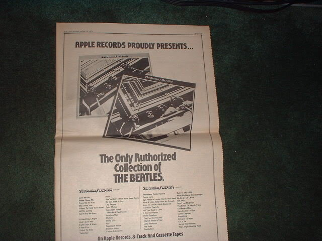 * 1973 BEATLES COLLECTION OF POSTER TYPE PROMO AD