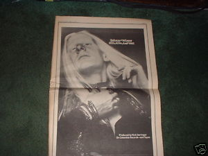 * 1973 JOHNNY WINTER POSTER TYPE PROMO AD