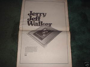* 1973 JERRY JEFF WALKER POSTER TYPE PROMO AD