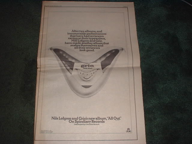 * 1973 NILS LOFGREN GRIN POSTER TYPE PROMO AD