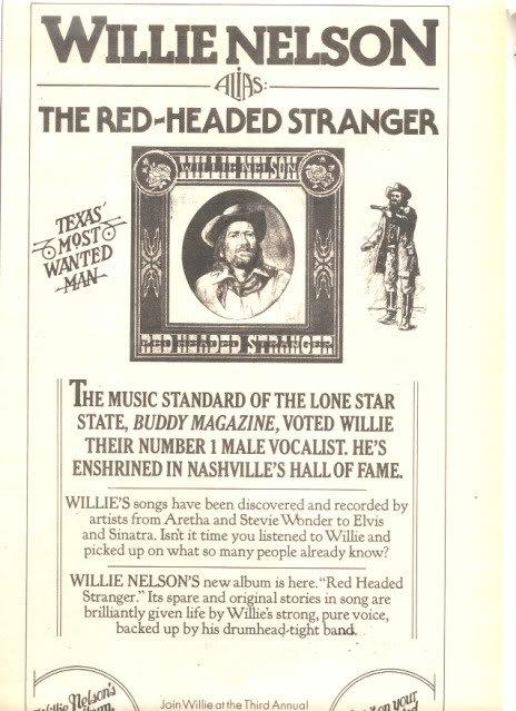 1975 WILLIE NELSON RED HEADED STRANGER PROMO AD