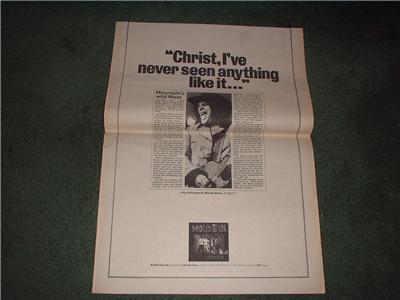 1972 MOUNTAIN POSTER TYPE AD